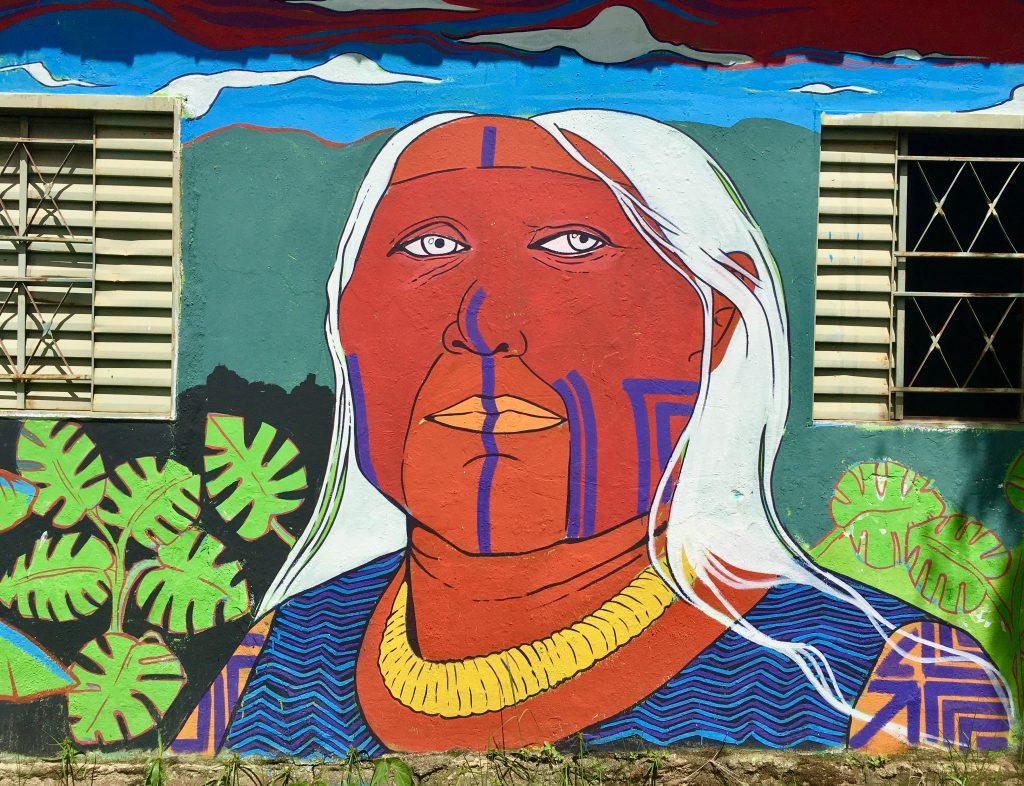 Fotografia da parede de uma casa com um grafiti de uma mulher indígena, de rosto vermelho e cabelos brancos